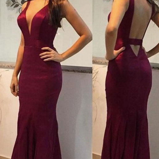 Plunging Neck Slim Prom Dress with Keyhole Back, Long Prom Dresses,Long Evening dresses
