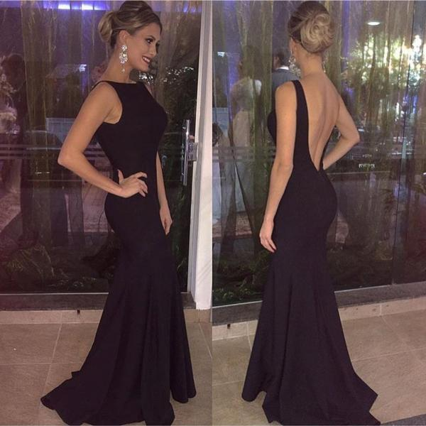 Black Sleeveless Open Back Long Bridesmaid Dress