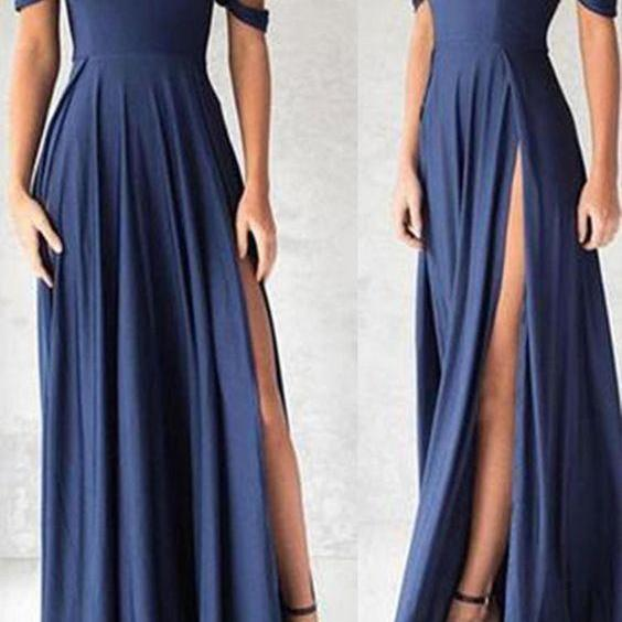 Ocean Blue Off The Shoulder Prom Dress, Floor Length Formal Gown With High Slit,Prom Dresses,Evening Dress