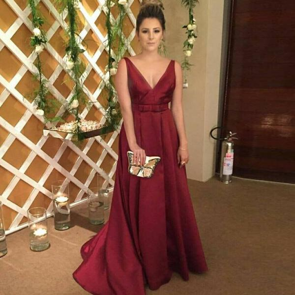 Burgundy Taffeta Prom Dress,V Neck Formal Gown,Backless A Line Pageant Gown