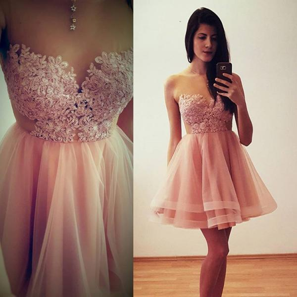 Sweetheart Cocktail Dress, Illusion Homecoming Dress With Keyhole Back, Lace Appliques,Prom Dresses,Evening Dress