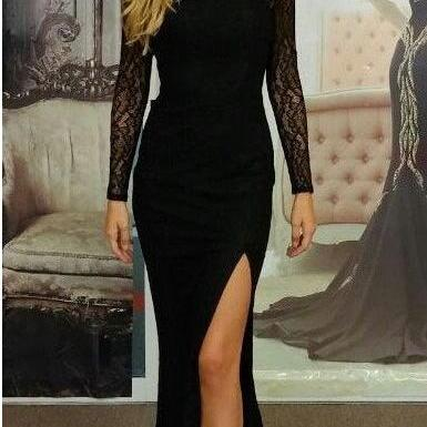 Fitted Black Jersey Backless Long Sleeve Prom Dress, Evening Gown With Side Slit