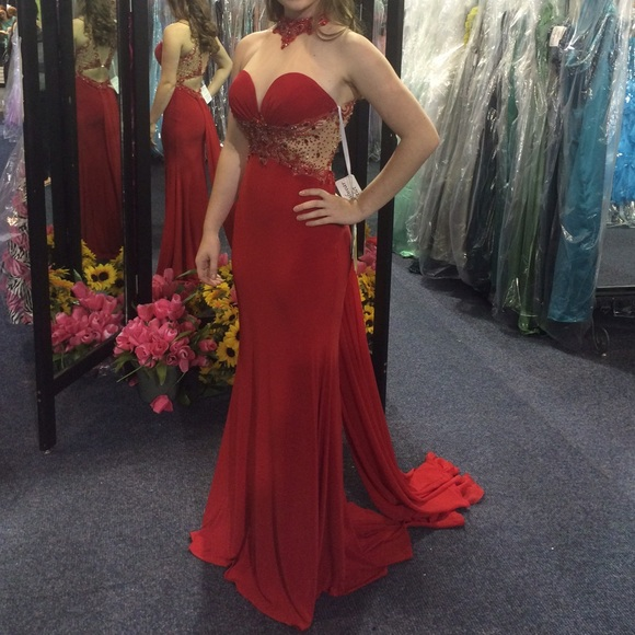 Beaded Red Illusion Evening Dresses,High Neck Fitted Jersey Prom Dress, Evening Gown Cut Out Waist,Prom Dresses,Evening Dress