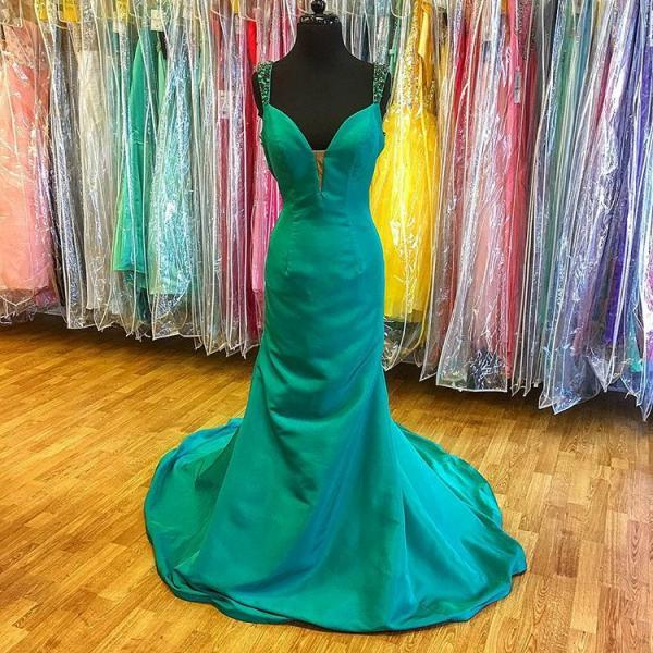 Green Plunging Sweetheart Sheath Prom Dress, Pageant Gown With Straps,Prom Dresses,Evening Dress